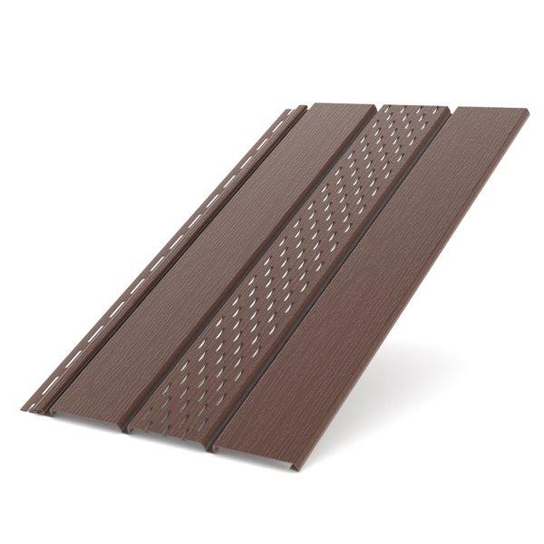 Софит Бриза Bryza с перфорацией виниловый для крыши цвет коричневый RAL 8017.